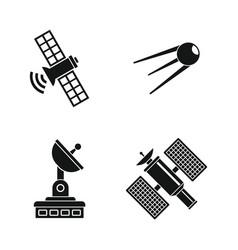 satellite icon set simple style vector image