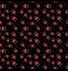seamless pattern with cat with heart vector image