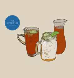 set of iced lemon mint tea sketch vector image