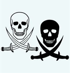 Skull and crossed swords vector