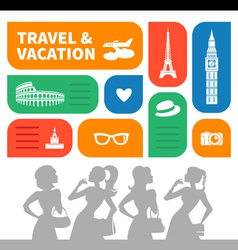 Travel and vacation shopping background vector image