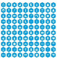 100 children icons set blue vector image vector image