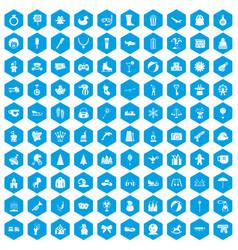 100 children icons set blue vector