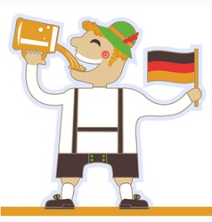 German man drinking beer and holding flag vector