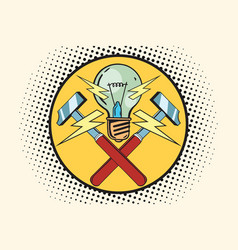 The symbol of light and hammers home repairs vector