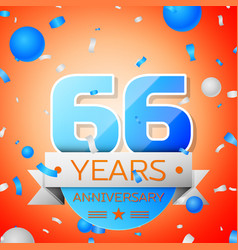 Sixty six years anniversary celebration vector