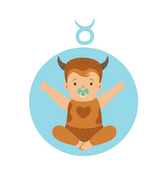 Cute little boy as taurus astrological sign vector
