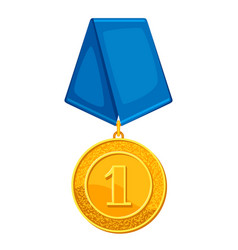 Realistic gold medal with blue ribbon vector