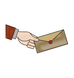 Hand holding envelope mail postal icon vector