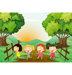 Four young ladies playing outdoor vector