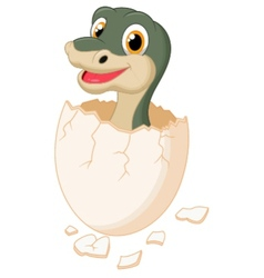 Cute dinosaur cartoon hatching vector