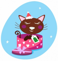 Brown christmas cat in box vector