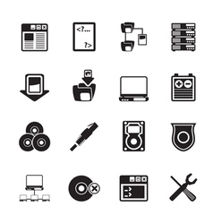 Silhouette Server Side Computer icons vector image
