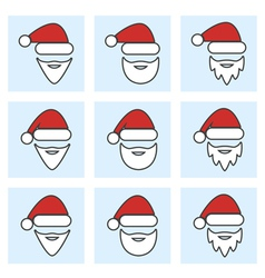 Set of santa claus face vector