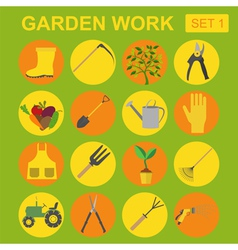 Garden work icon set working tools vector