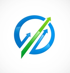 arrow business finance market logo vector image