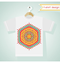 T-shirt design with bright tribal pattern vector