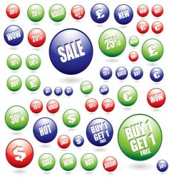 sale buttons collection vector image