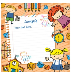 Kids with paper background and toys frame vector