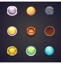 Set of round buttons different materials for the vector
