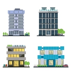 Set of modern business center with diverse vector