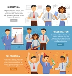 Cooperation banner set vector
