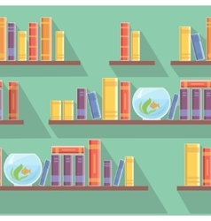 Seamless pattern bookshelves books vector