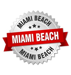 Miami beach round silver badge with red ribbon vector