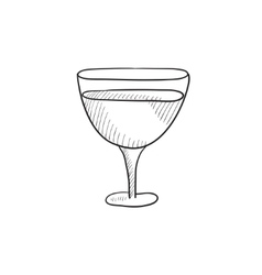 Glass of wine sketch icon vector
