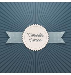 Ramadan kareem emblem with greeting ribbon vector