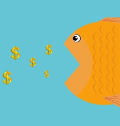 A fish eat dollars icon business concept vector