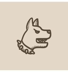 Aggressive police dog sketch icon vector