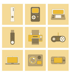 Assembly flat icon game console flash drive vector