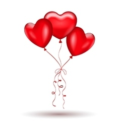 Copula of red gel balloons in the shape of a heart vector image