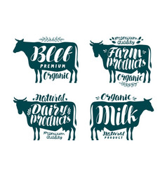 Cow label set milk beef dairy products meat vector