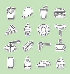 fast food line sticker icon vector image vector image