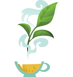 Glass Cup with Tea Leaf vector image