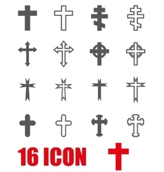 grey crosses icon set vector image vector image