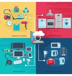 Household icons composition square concept vector