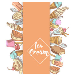 ice cream and desserts hand drawn menu vector image vector image