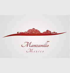 manzanillo skyline in red vector image vector image