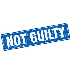Not guilty blue square grunge stamp on white vector