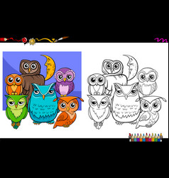 owls bird characters group coloring book vector image