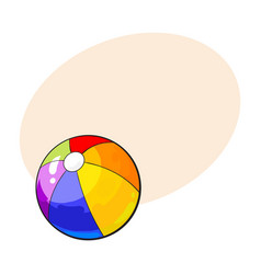 rainbow colored inflated beach ball sketch style vector image vector image