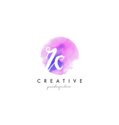rc watercolor letter logo design with purple vector image vector image