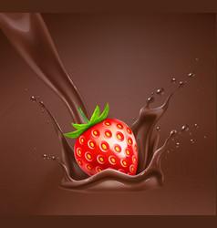 Realistic strawberry in chocolate splash vector