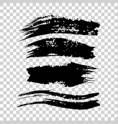 set of big black long brush strokes vector image