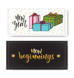 Set of hand drawn new year banners handwritten vector