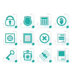 stylized simple security and business icons vector image