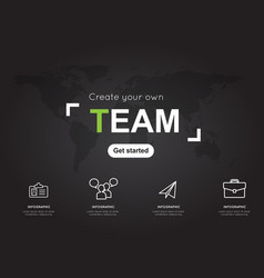 Team icons with world black map for business vector
